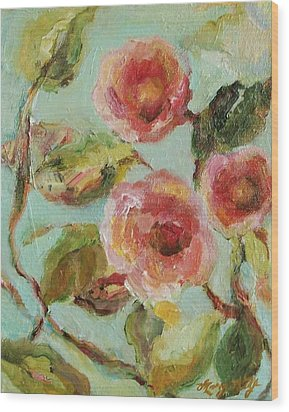 Wood Print featuring the painting Impressionist Floral Painting by Mary Wolf
