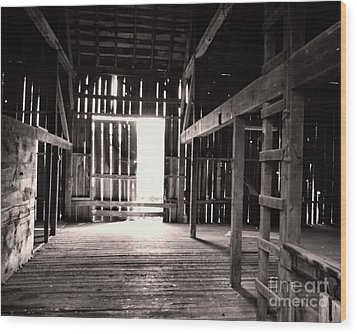 Wood Print featuring the photograph Inside An Old Barn by John S