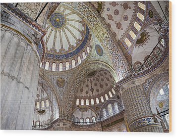 Interior Of Blue Mosque In Istanbul Turkey Wood Print