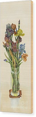 irises in Vase Wood Print