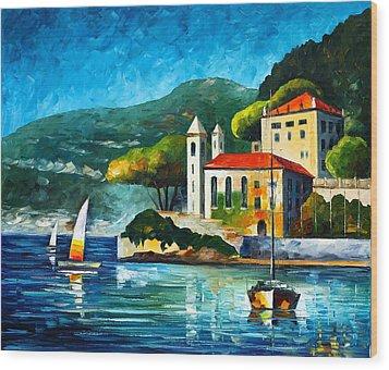 Italy Lake Como Villa Balbianello Wood Print by Leonid Afremov