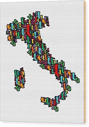 Italy Map Wood Print by Mark Ashkenazi