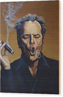 Jack Nicholson Painting Wood Print by Paul Meijering