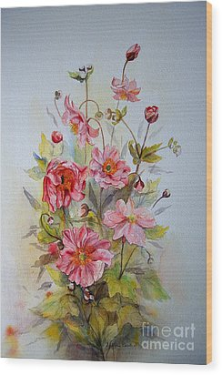 Wood Print featuring the painting Japanese Anemones by Beatrice Cloake