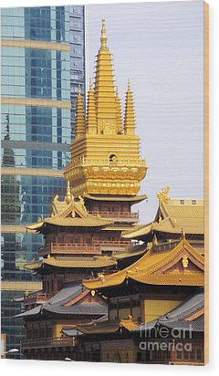 Jin An Temple Shanghai Wood Print by Charline Xia
