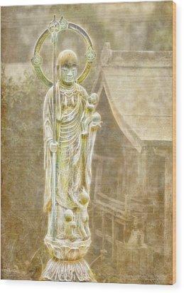 Jizo Wood Print by Karen Walzer