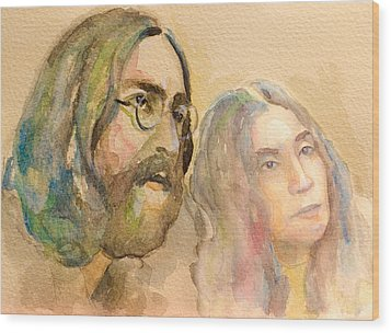 Wood Print featuring the painting John Lennon by Laur Iduc