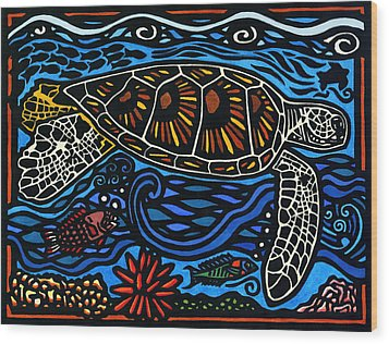 Kahaluu Honu Wood Print by Lisa Greig