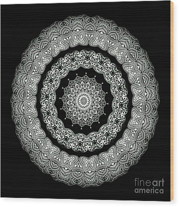 Kaleidoscope Ernst Haeckl Sea Life Series Black And White Set On Wood Print by Amy Cicconi