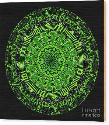 Kaleidoscope Of Glowing Circuit Board Wood Print by Amy Cicconi