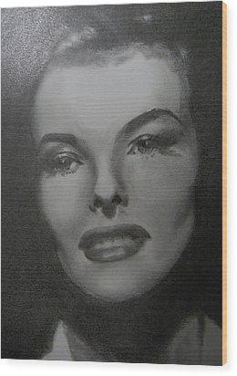 Wood Print featuring the drawing Kathryn Hepburn by Lori Ippolito