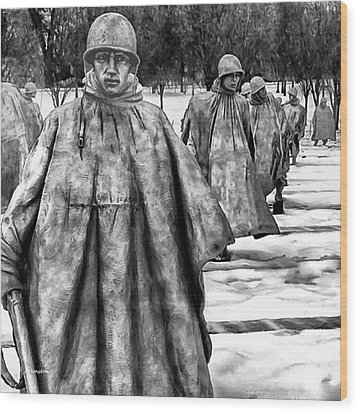 Korean War Memorial Washington Dc Wood Print by Bob and Nadine Johnston