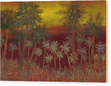 La Jungla Rossa Wood Print by Guido Borelli
