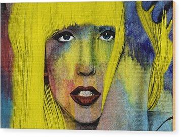 Lady Gaga  Wood Print by Mark Ashkenazi