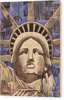 Lady Liberty Wood Print by Joseph Sonday