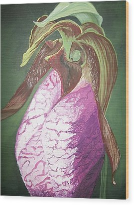 Wood Print featuring the painting Lady Slipper Orchid by Sharon Duguay