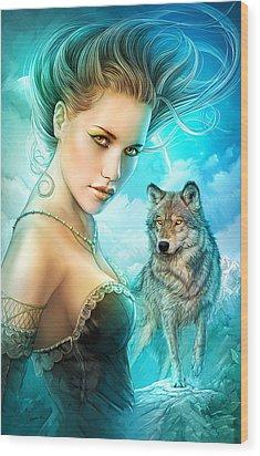 Lady Wolf Wood Print by Shannon Maer