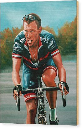 Lance Armstrong Wood Print by Paul Meijering