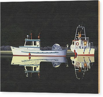 Wood Print featuring the painting Last Light  Island Moorage by Gary Giacomelli