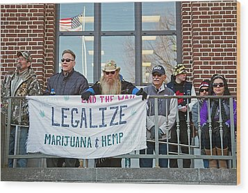 Legalisation Of Marijuana Rally Wood Print by Jim West