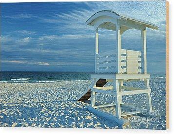 Lifeguard Hut On Beach Wood Print