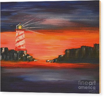 Wood Print featuring the painting Lighthouse Bay by Denise Tomasura