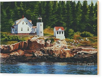 Lighthouse Solitude Wood Print by Karol Wyckoff