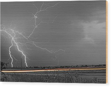 Lightning Thunderstorm Dragon Wood Print by James BO  Insogna
