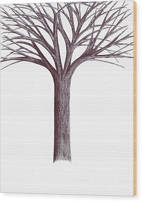 Wood Print featuring the drawing Second-generation....tree Without Roots by Giuseppe Epifani