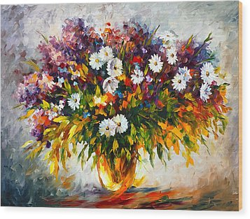 Lilac And Camomiles Wood Print by Leonid Afremov