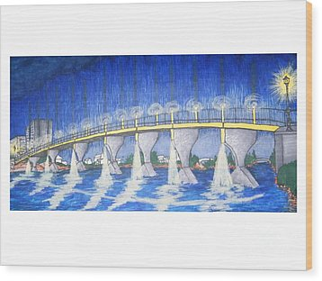 Lit Bridge Wood Print