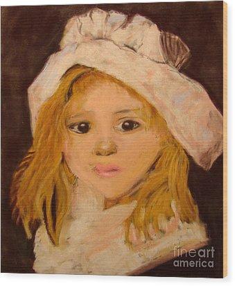 Little Girl Wood Print by Joseph Hawkins