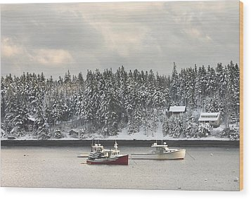 Lobster Boats After Snowstorm In Tenants Harbor Maine Wood Print by Keith Webber Jr