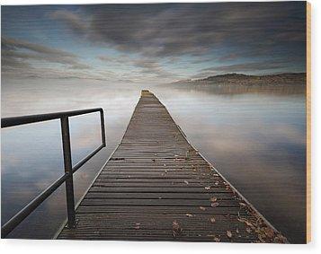 Loch Lomond Jetty Wood Print by Grant Glendinning