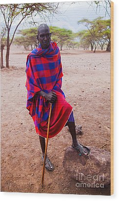 Maasai Man Portrait In Tanzania Wood Print by Michal Bednarek
