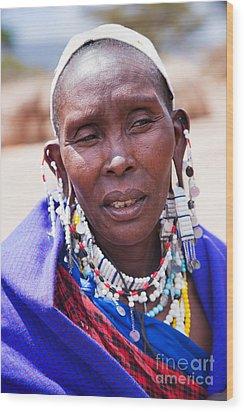 Maasai Woman Portrait In Tanzania Wood Print by Michal Bednarek