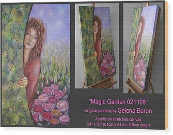 Wood Print featuring the painting Magic Garden 021108 by Selena Boron