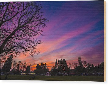 Magical Sky Wood Print by Mike Lee