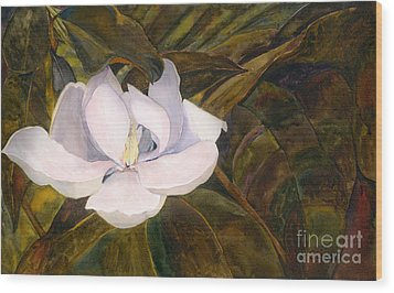 Wood Print featuring the painting Magnolia Blossom by Sandy Linden
