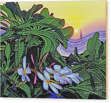 2 Mai Tais Waikiki Hawaii Wood Print by Jerome Stumphauzer