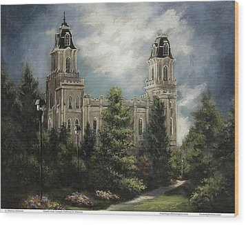 Manti Utah Temple-pathway To Heaven Pastel Wood Print