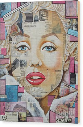 Marilyn In Pink And Blue Wood Print by Joseph Sonday