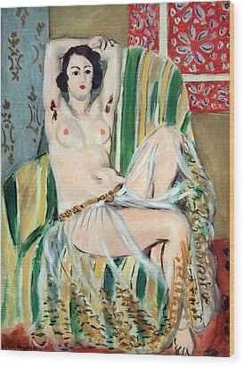 Matisse's Odalisque Seated With Arms Raised In Green Striped Chair Wood Print