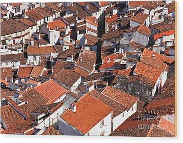 Medieval Town Rooftops Wood Print by Jose Elias - Sofia Pereira