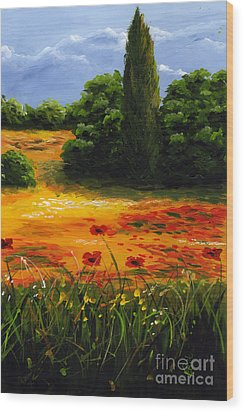 Mediterranean Landscape Wood Print by Edit Voros