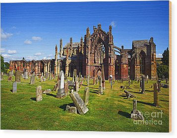 Wood Print featuring the photograph Melrose Abbey Scotland by Craig B