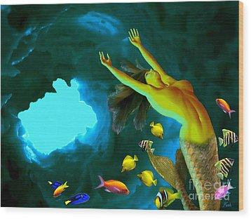 Mermaid Cave Wood Print by Steed Edwards
