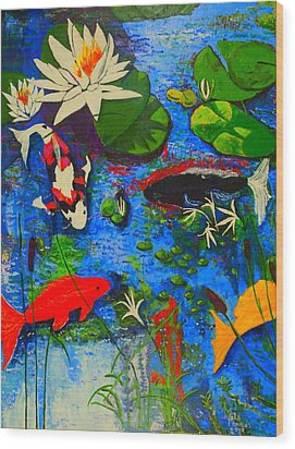 Wood Print featuring the painting Miami Koi Collage by Angela Annas