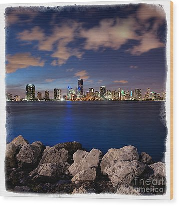 Miami Skyline At Night Wood Print by Carsten Reisinger