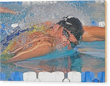Michael Phelps Wood Print by Duncan Selby